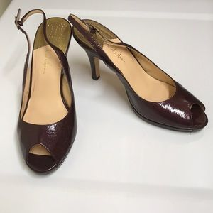 Cole haan purple patent leather tie peep pumps